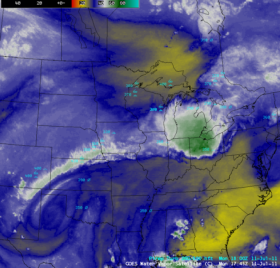 GOES-13 6.5 µm water vapor channel image + pilot reports of turbulence