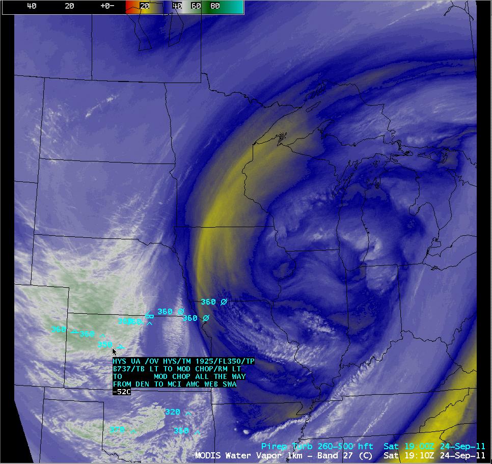 MODIS 6.7 µm water vapor image + pilot reports of turbulence