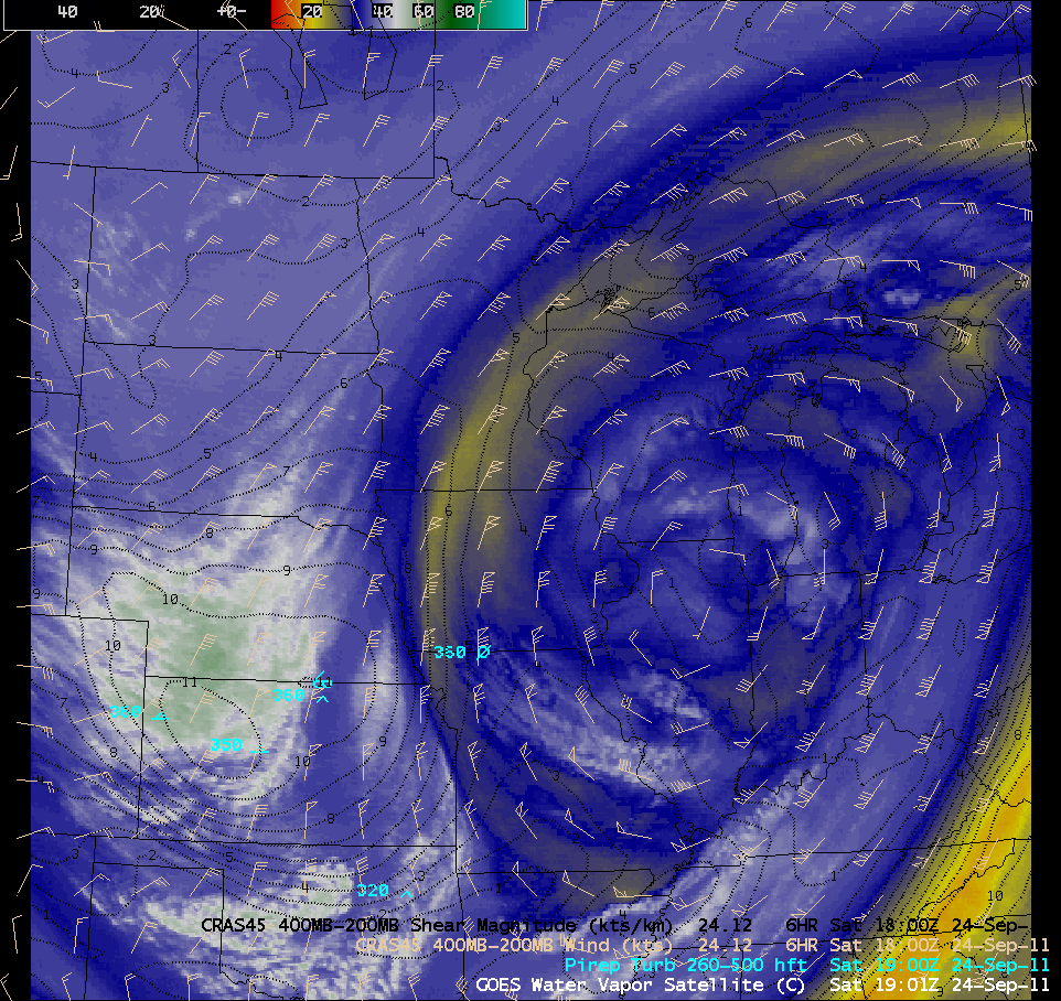 GOES-13 6.5 µm water vapor images + turbulence reports + CRAS layer winds and shear (click image to play animation)