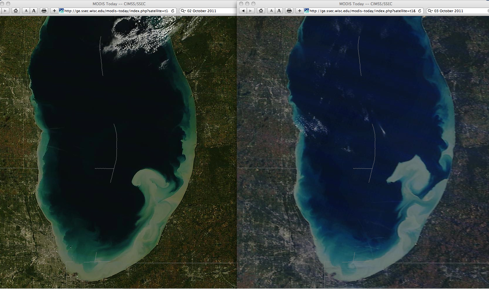MODIS true color images: 02 October (left) and 03 October (right)