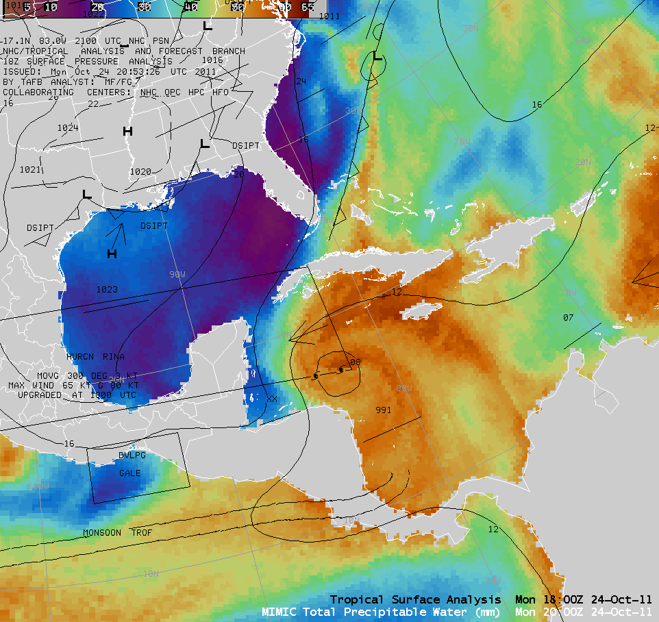 MIMIC Total Precipitable Water product + tropical surface analysis (click image to play animation)