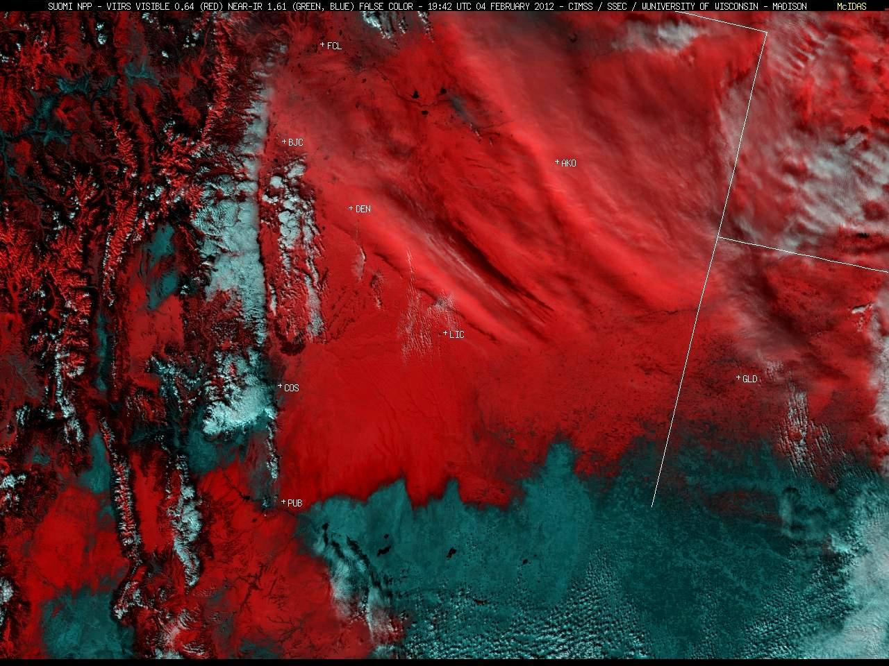 Suomi NPP VIIRS false-color image (northeastern Colorado)