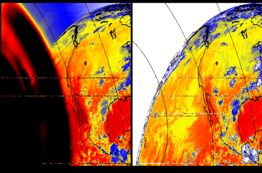 3.9 micrometer images showing stray light contamination (left) and corrected version (right)