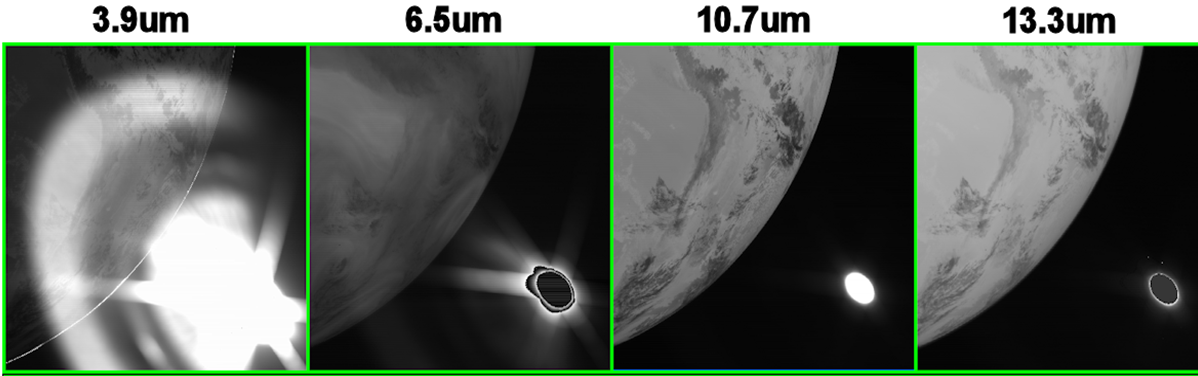 Four IR Channel from imager with stray light contamination