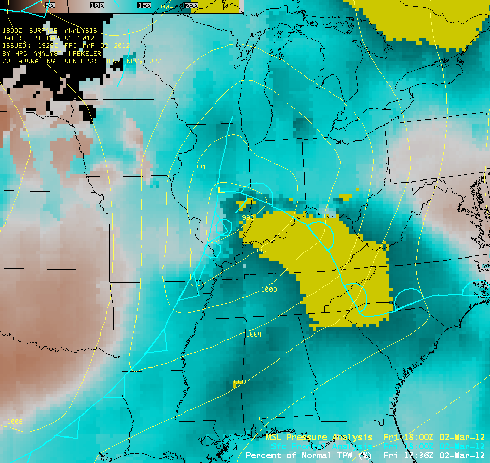 Percent of Normal Blended Total Precipitable Water (click image to play animation)