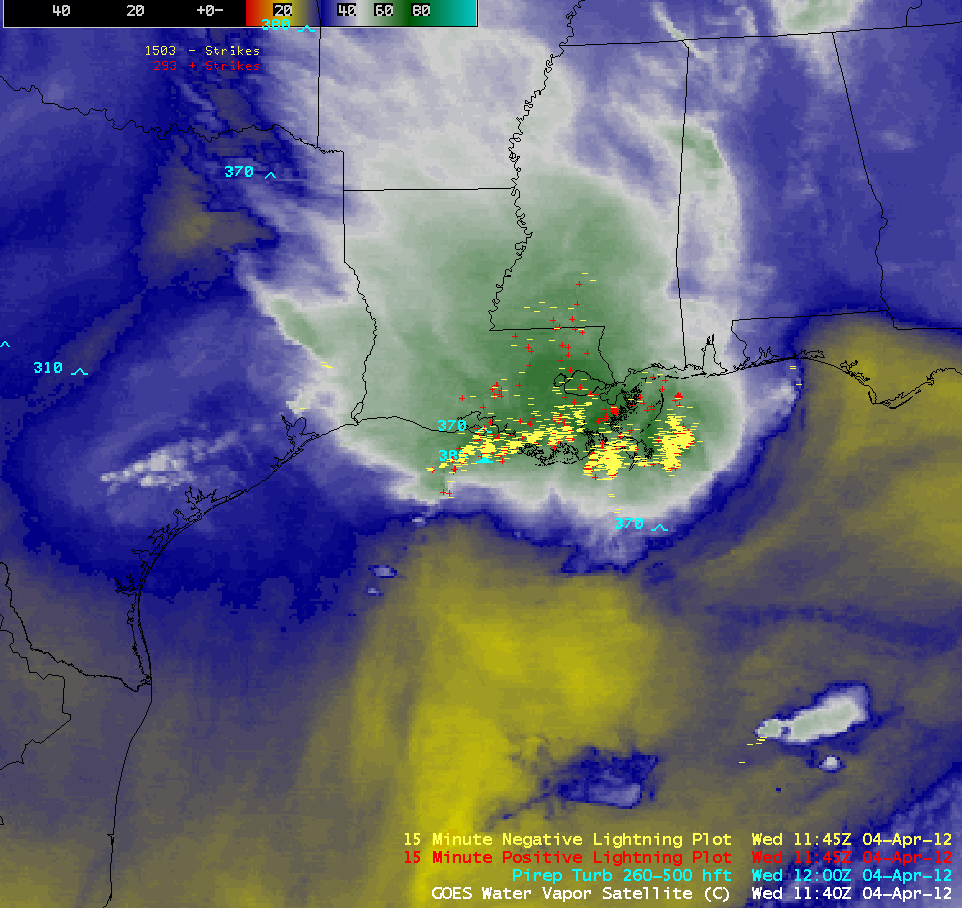 GOES-13 6.5 µm water vapor images + Lightning strikes (click image to play animation)