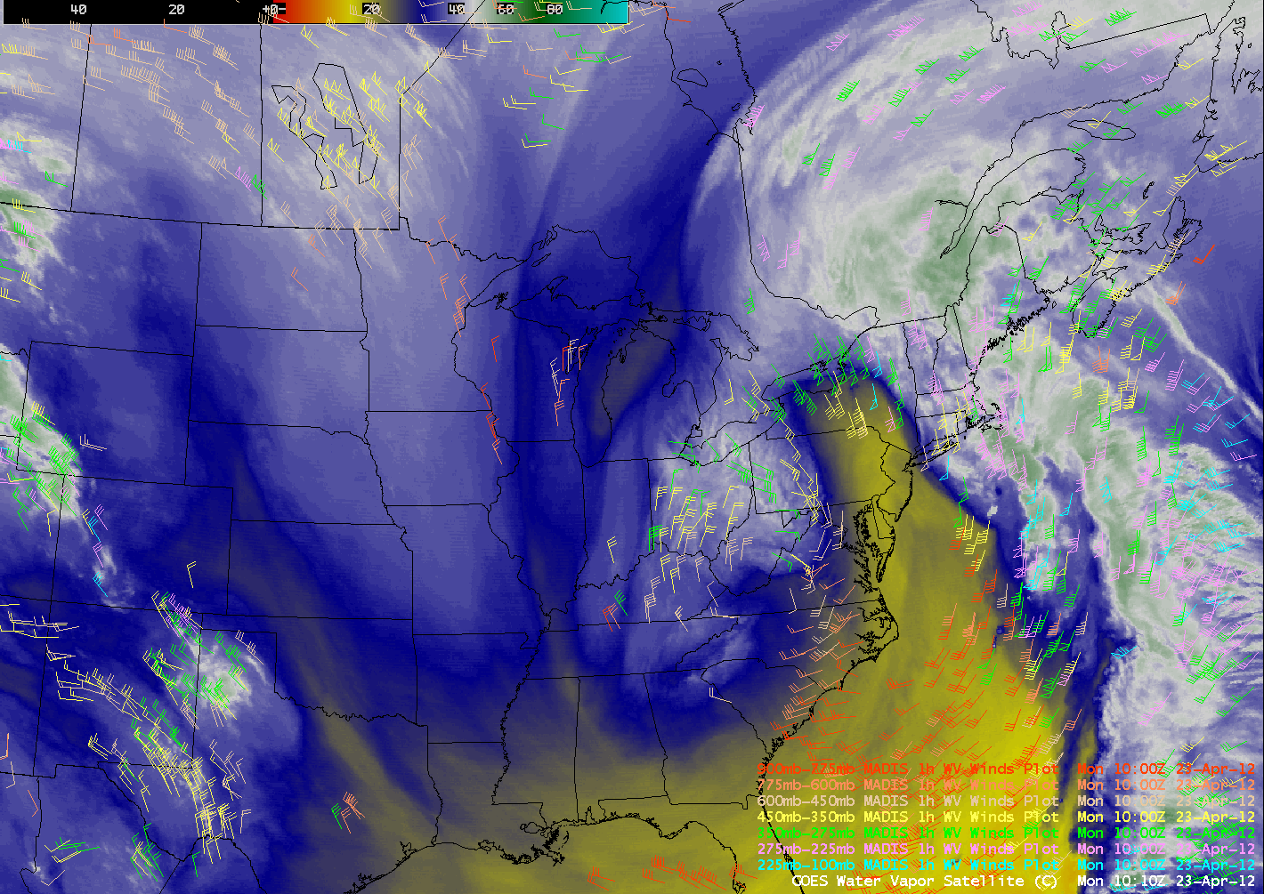 GOES-13 6.5 µm water vapor images + MADIS 1-hour water vapor winds (click image to play animation)