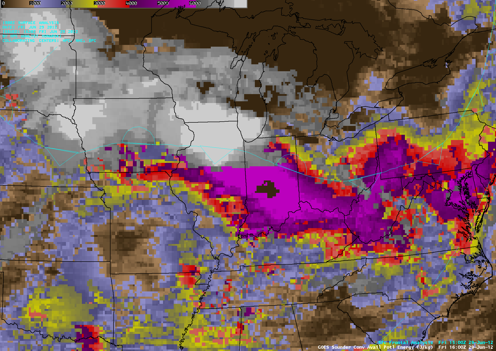GOES-13 sounder Convective Available Potential Energy (CAPE) derived product (click image to play animation)