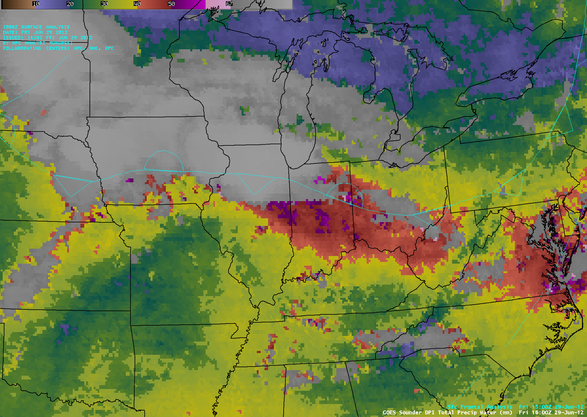 GOES-13 sounder Total Precipitable Water derived product imgery (click image to play animation)