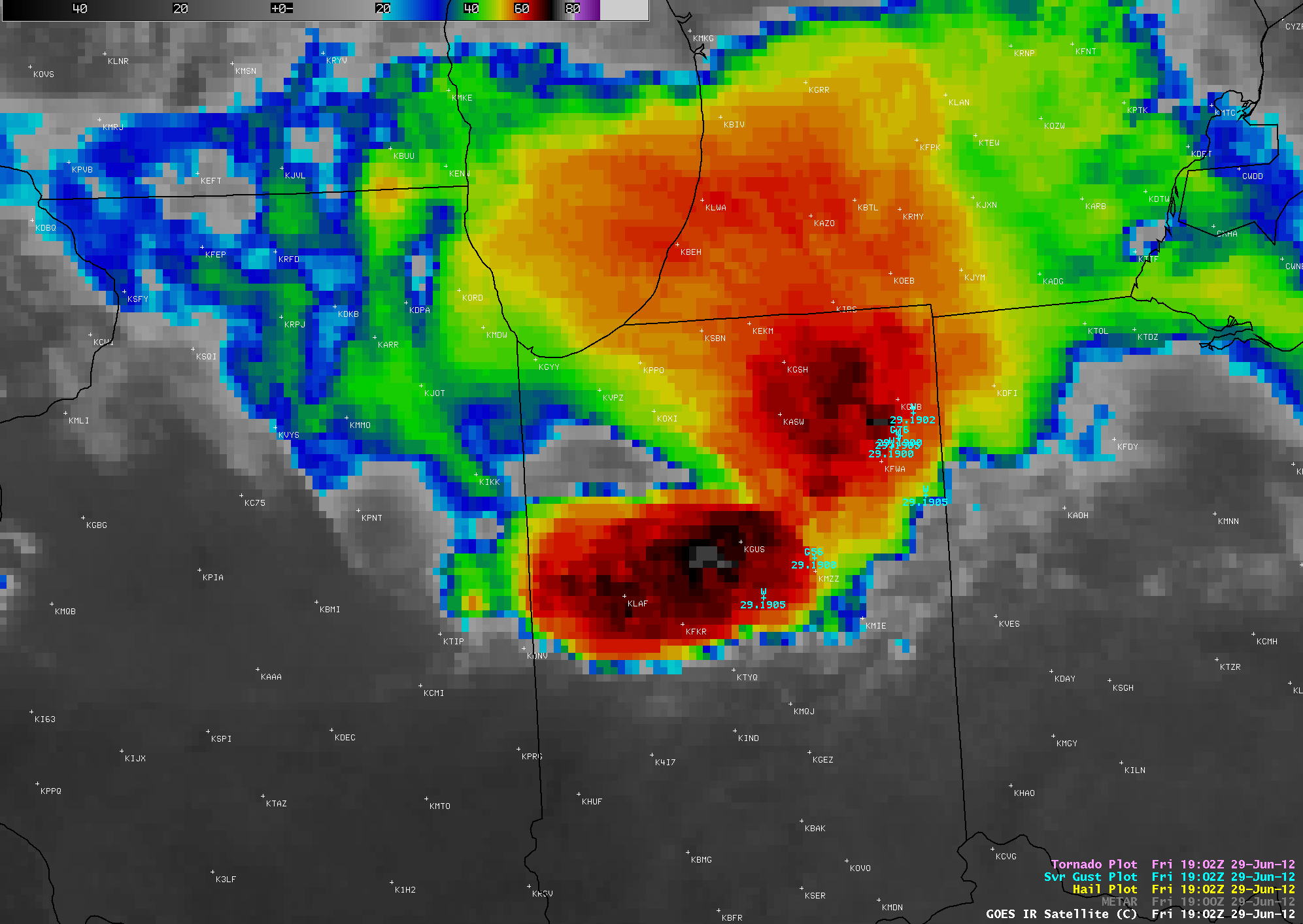 GOES-13 10.7 µm IR images + SPC storm reports (click image to play animation)