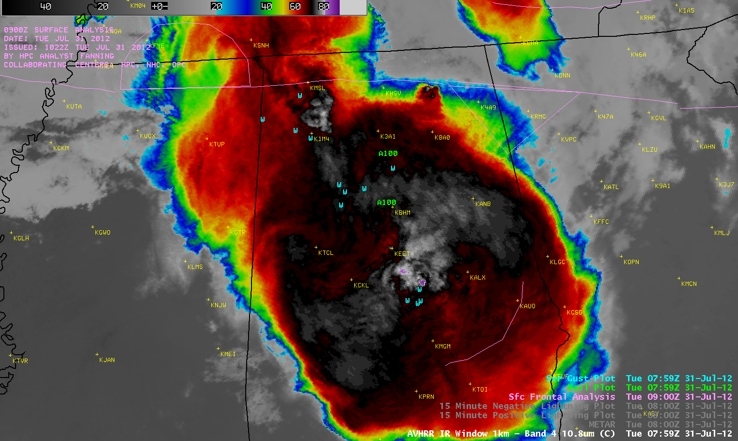 POES AVHRR 10.8 µm IR image + SPC storm reports of hail and damaging winds