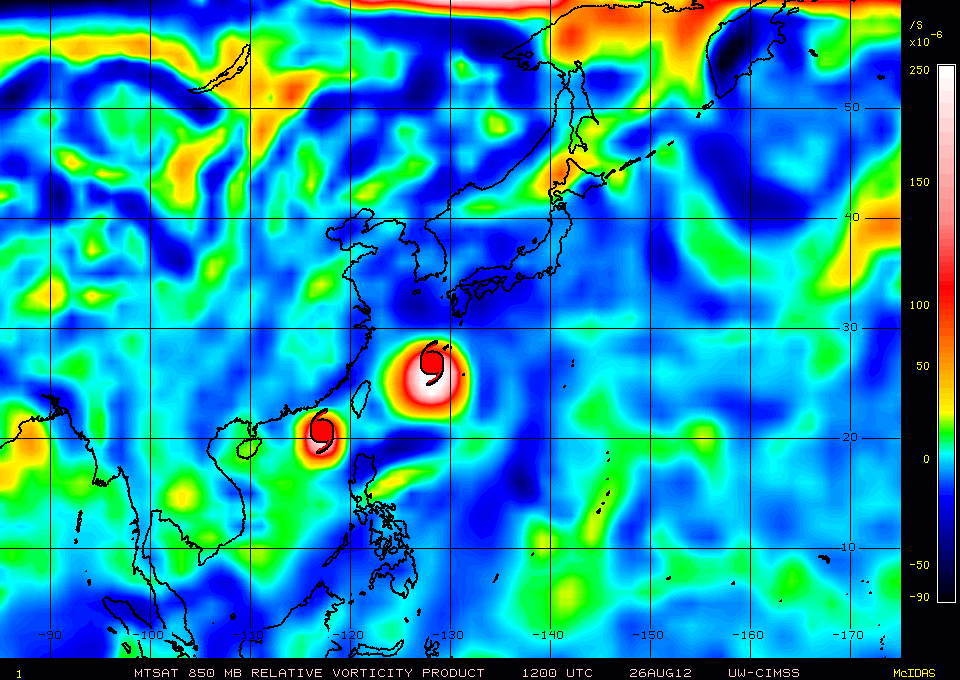 850-mb vorticity maps from CIMSS Tropical Weather Website (click image to animate)