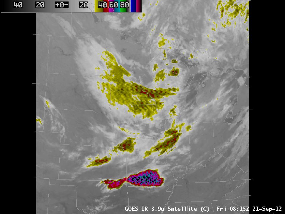 GOES-13 3.9 µm imagery, 0815 UTC 21 September 2012