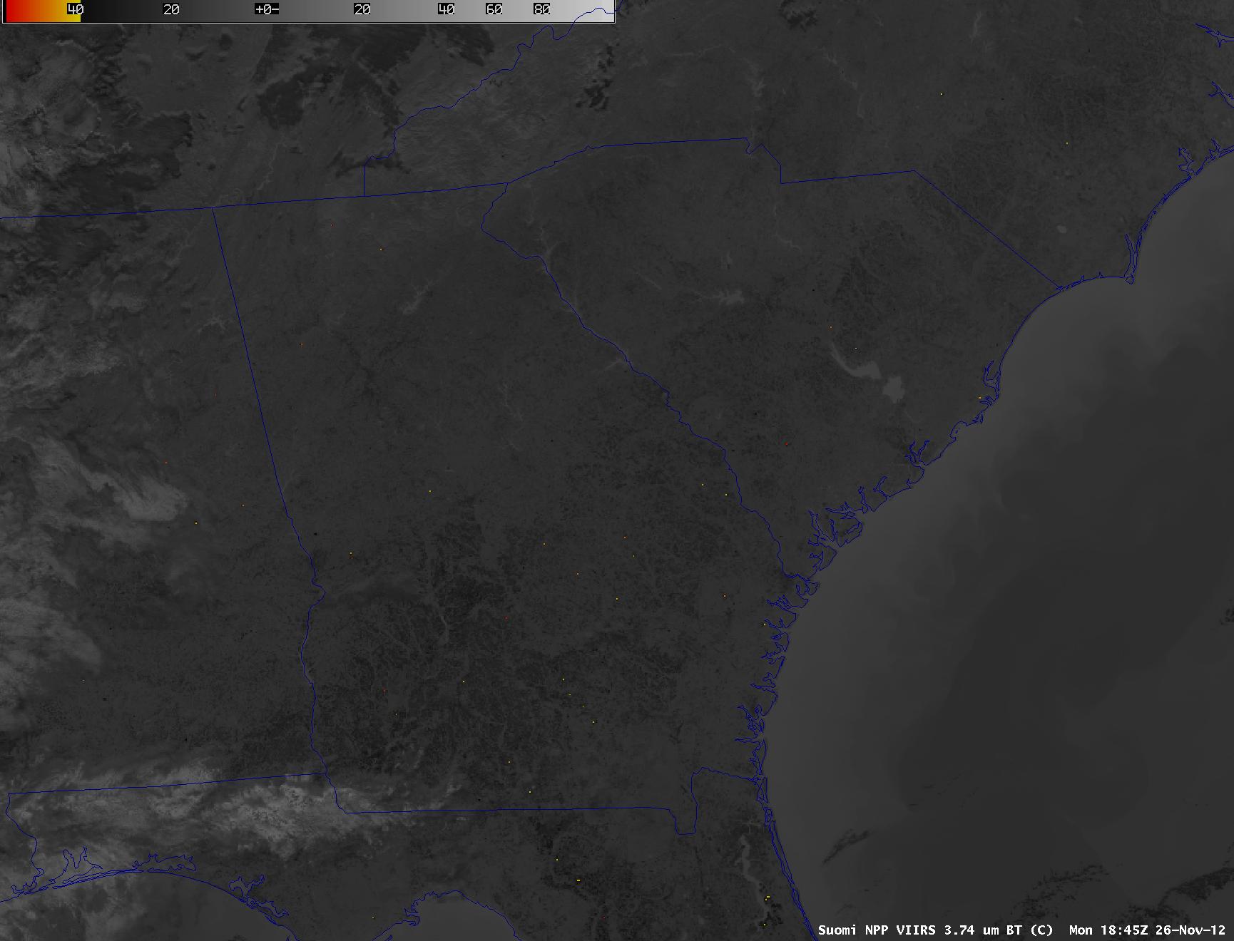 Suomi NPP VIIRS 3.74 µm shortwave IR image