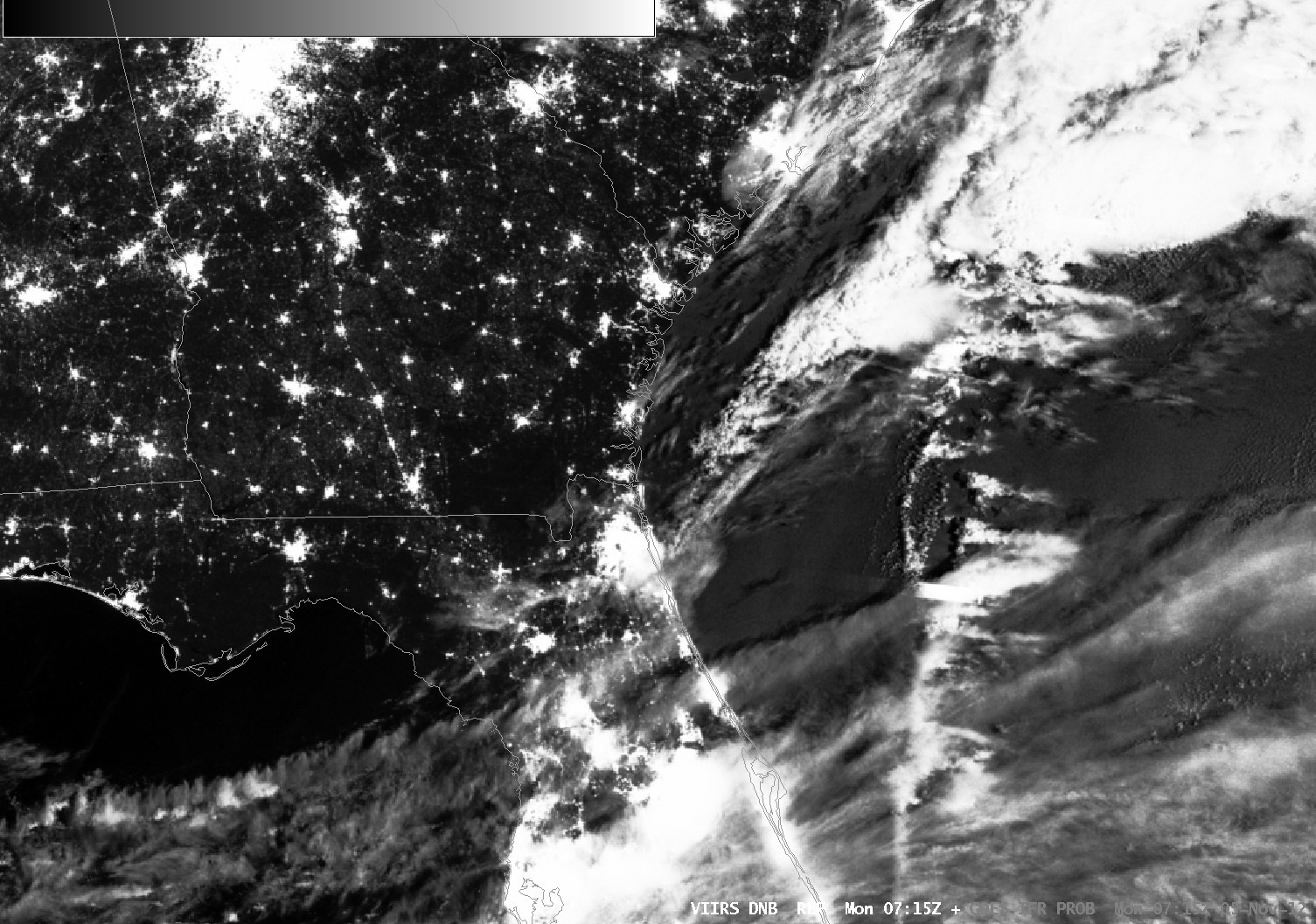 VIIRS DayNight Band on Suomi/NPP, GOES-R IFR Probabilities and surface observations (Click image to play animation)