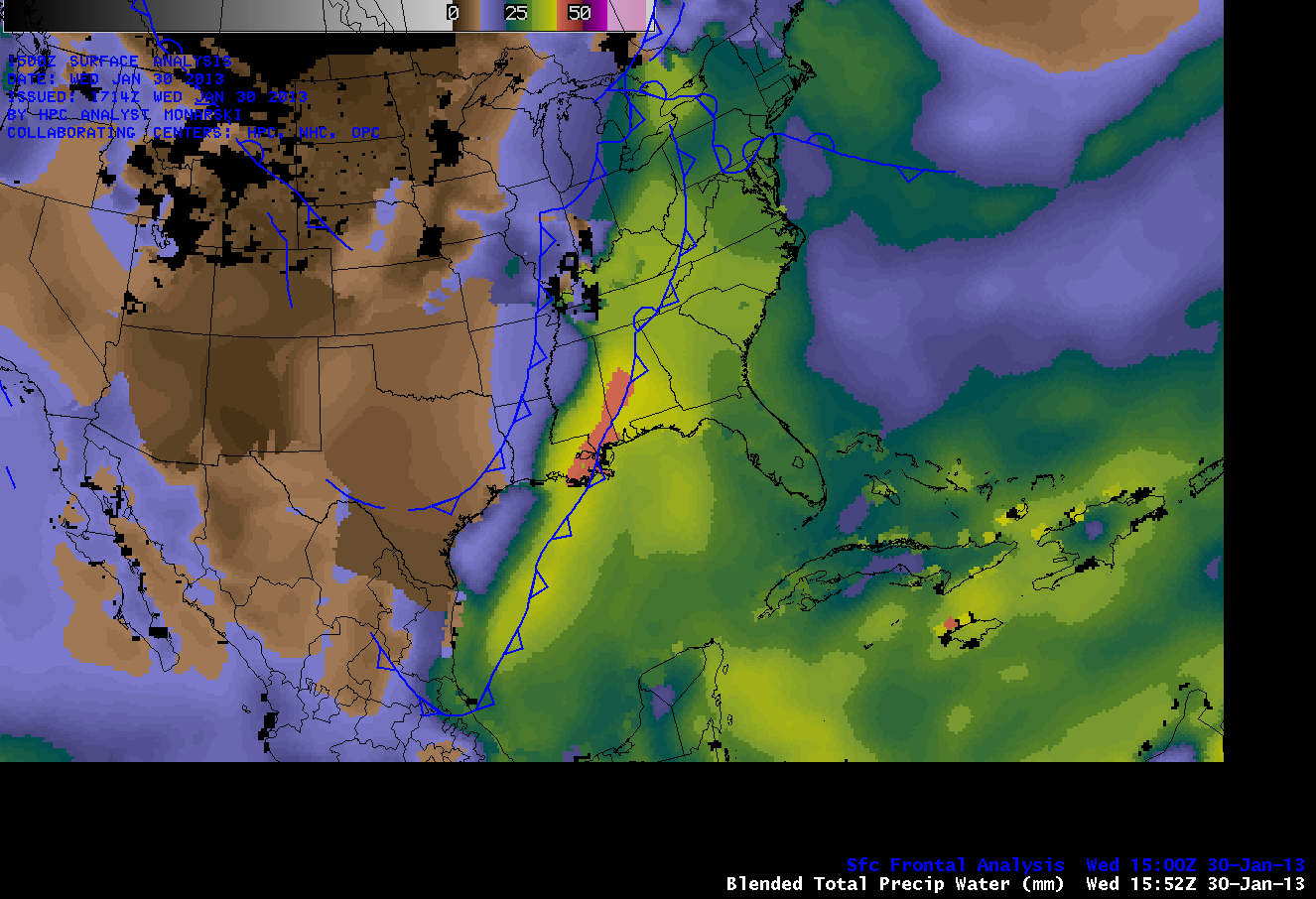 Blended Total Precipitable Water and Surface frontal analysis