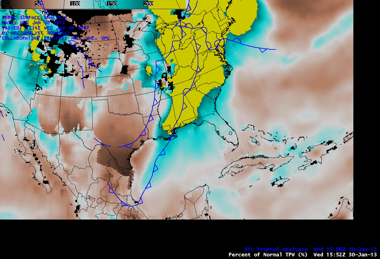 Percent of Normal TPW and Surface frontal analysis