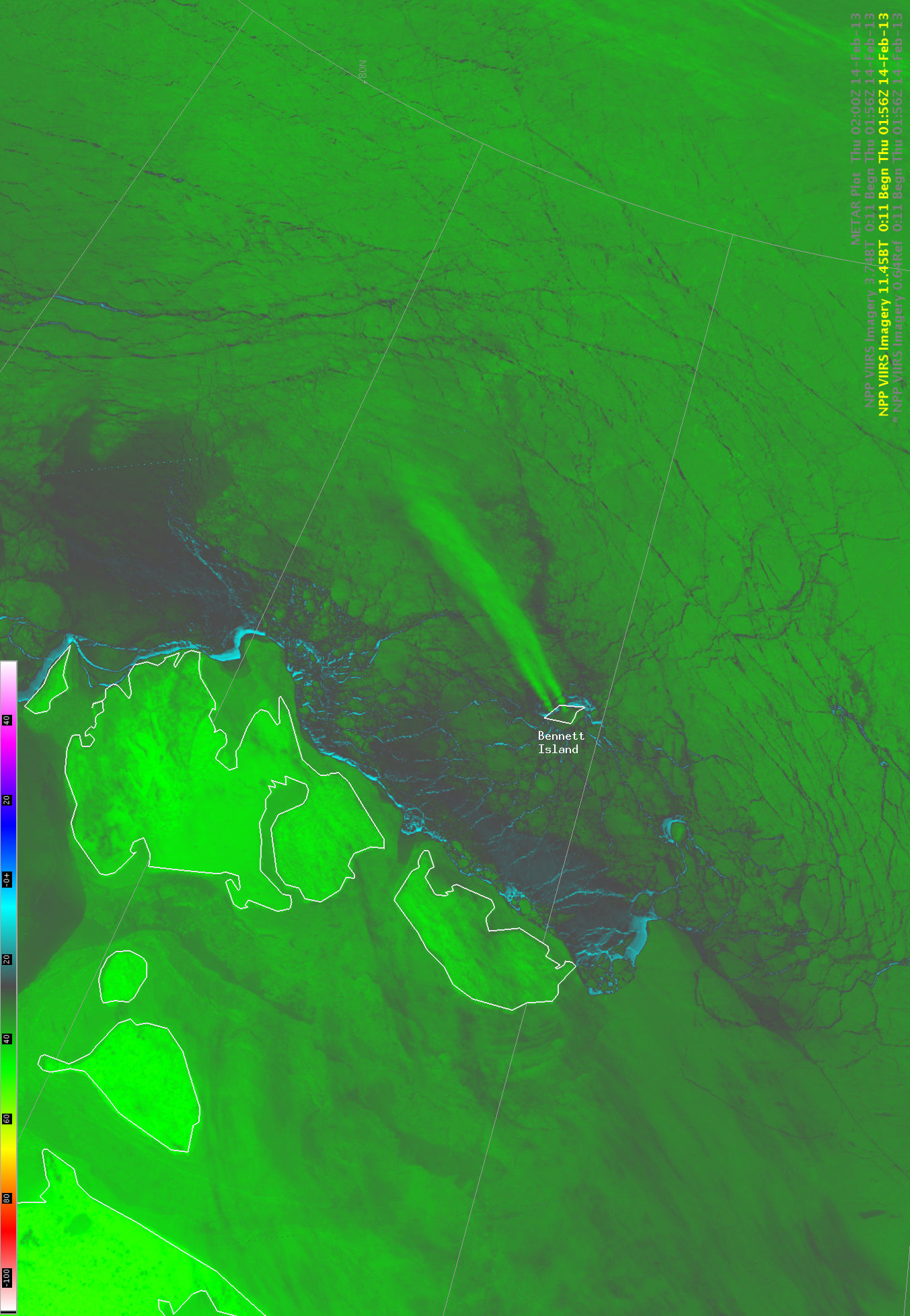 Suomi NPP VIIRS 11.45 µm IR channel images (click image to play animation)
