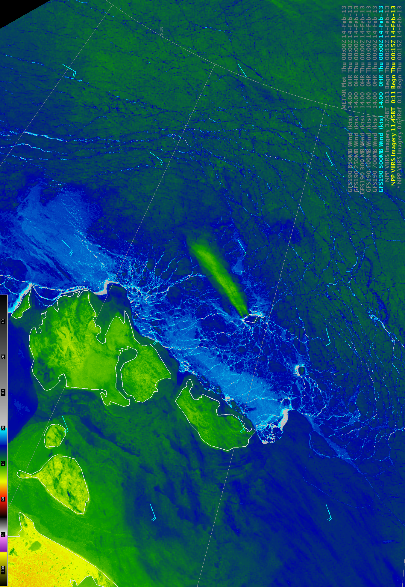 Suomi NPP VIIRS 11.45 µm IR image with GFS190 500 hPa wind barbs