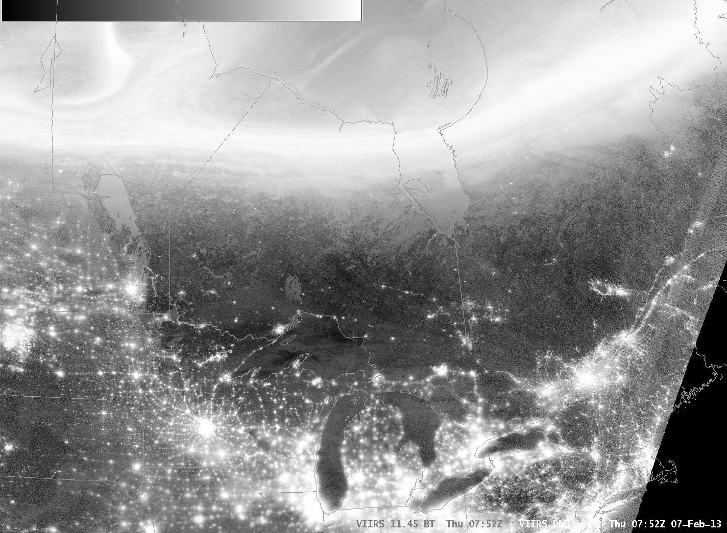 Suomi/NPP VIIRS Day/Night Visible Band and 3.74 µm infrared channel images (click image to play animation)