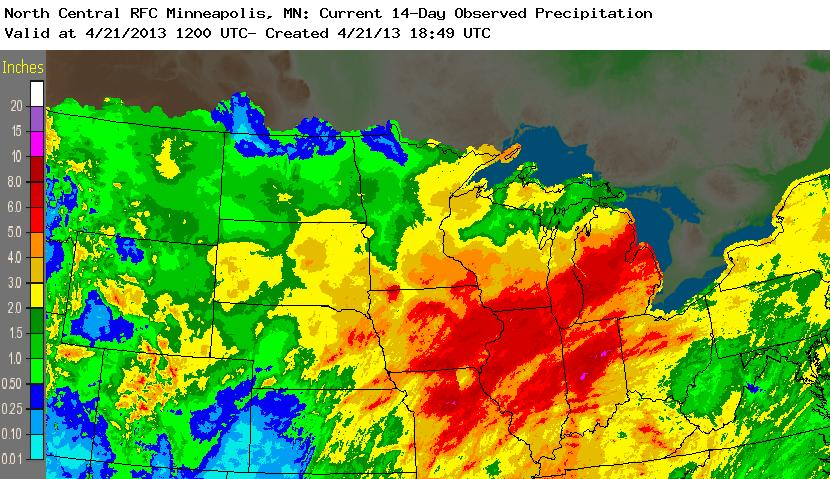 Total observed precipitation during the 07-21 April 2013 period