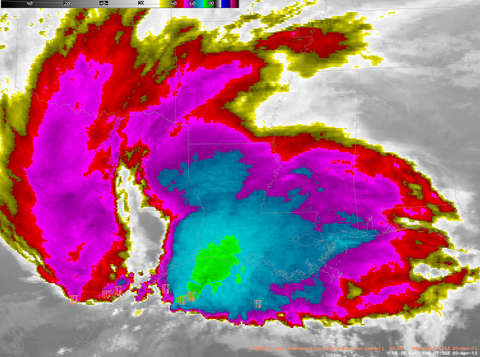 GOES-13 10.7 µm Imagery and auto-detected Overshooting Tops