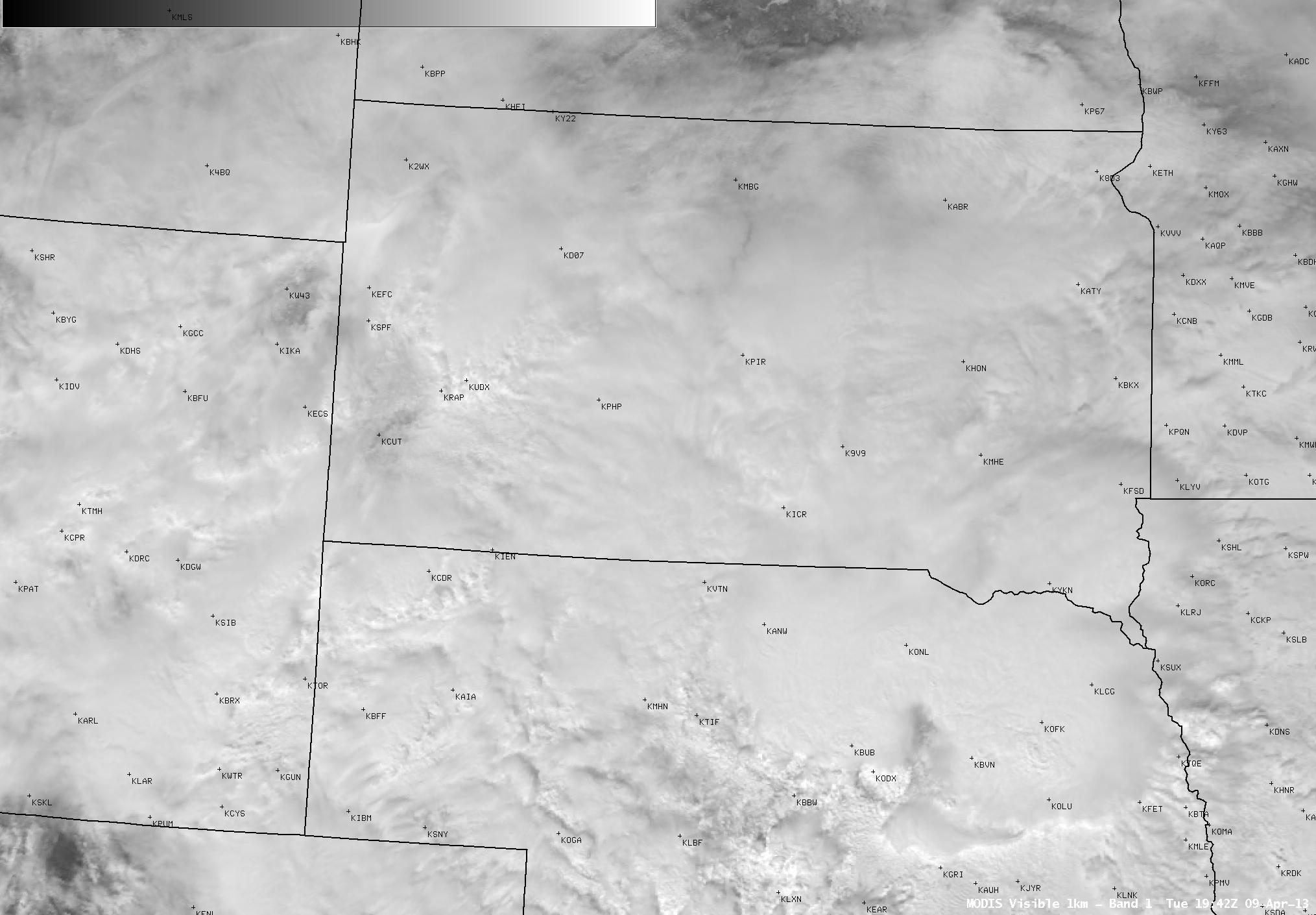 MODIS 0.65 µm visible channel image
