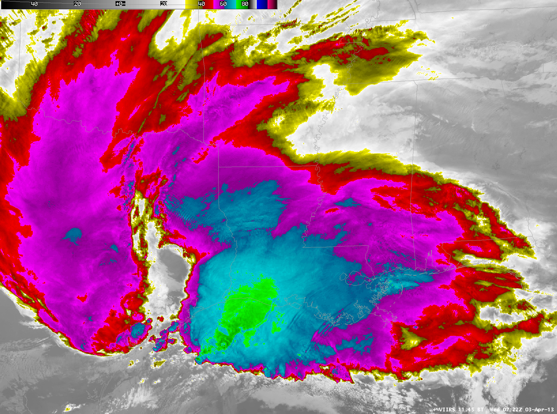 Suomi NPP VIIRS 11.45 µm IR and GOES-13 10.7 µm IR images (Click image to toggle)