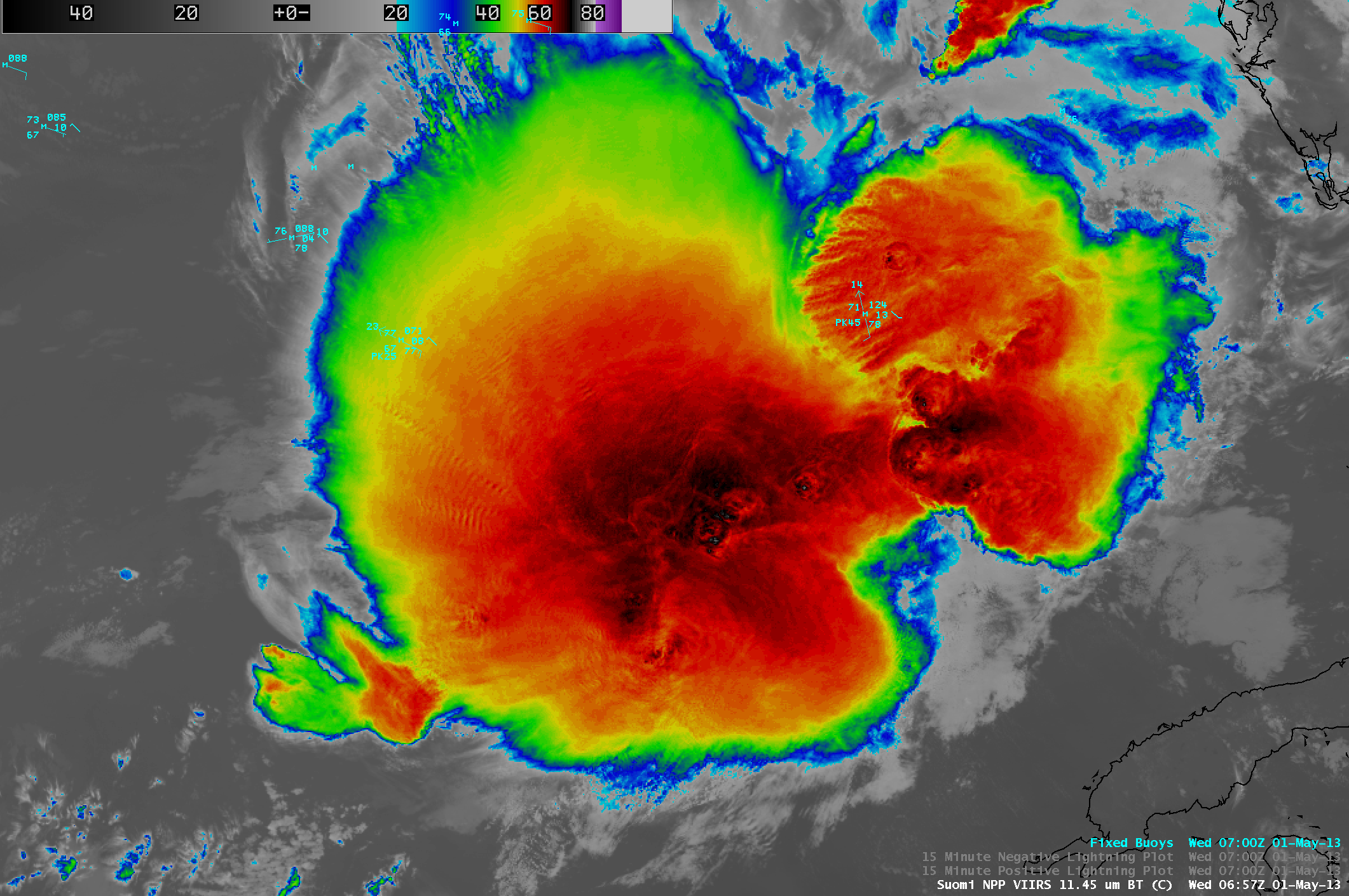 Suomi NPP VIIRS 11.45 µm IR channel image with surface buoy reports