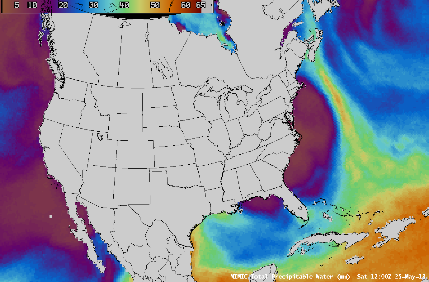 MIMIC Total Precipitable Water product (click image to play animation)