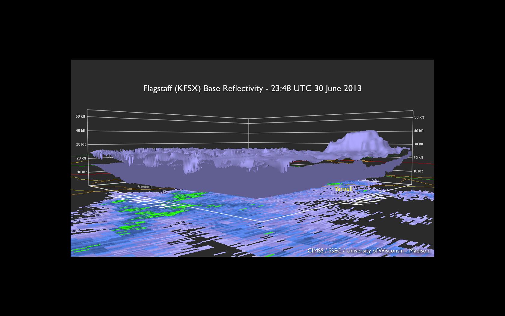 Flagstaff, Arizona WSR-88D radar base reflectivity and volume of 13.5 dBZ reflectivity isosurface (click image to play animation)