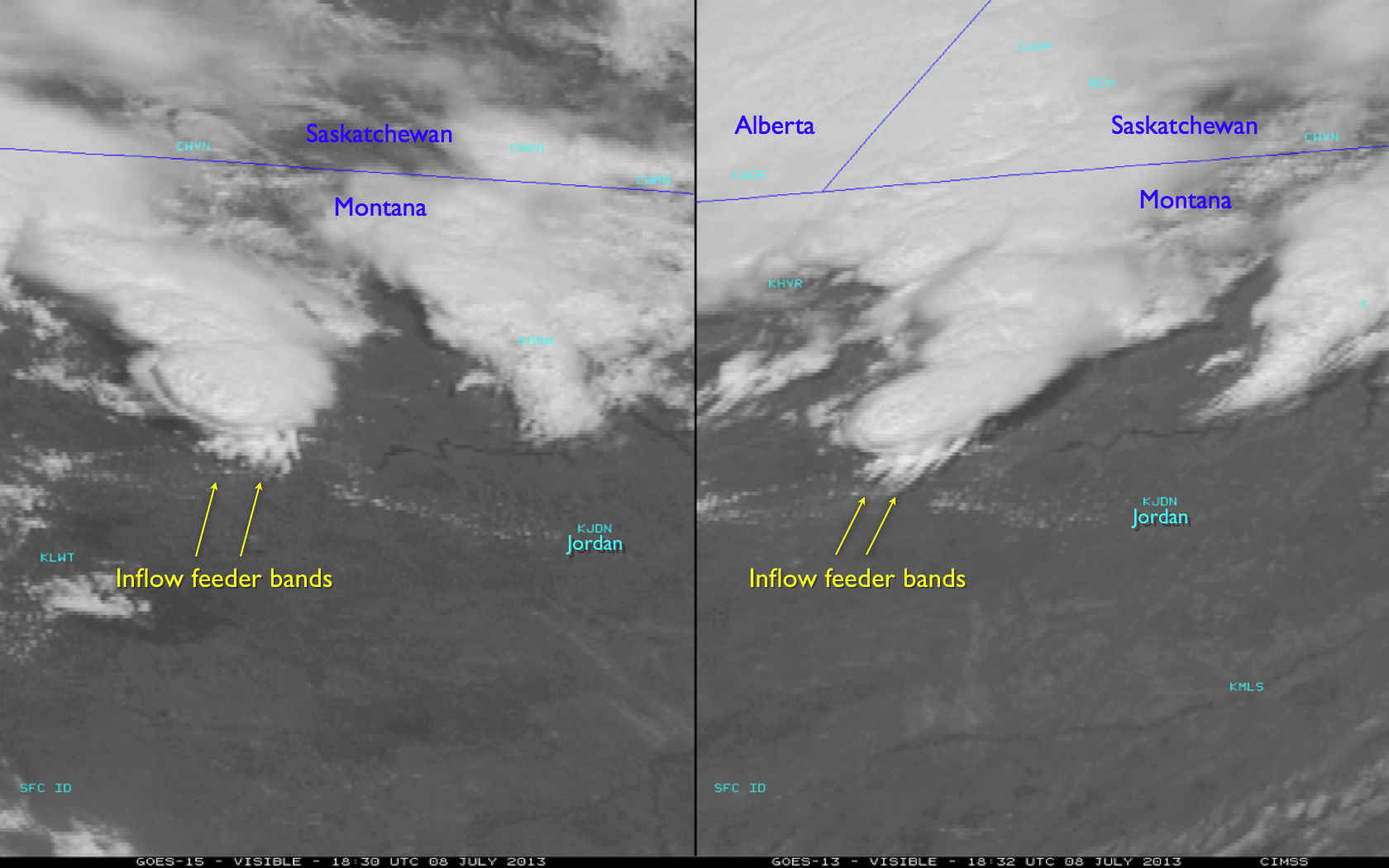 GOES-15 (left) and GOES-13 (right) 0.63 µm visible channel images (click image to play animation)