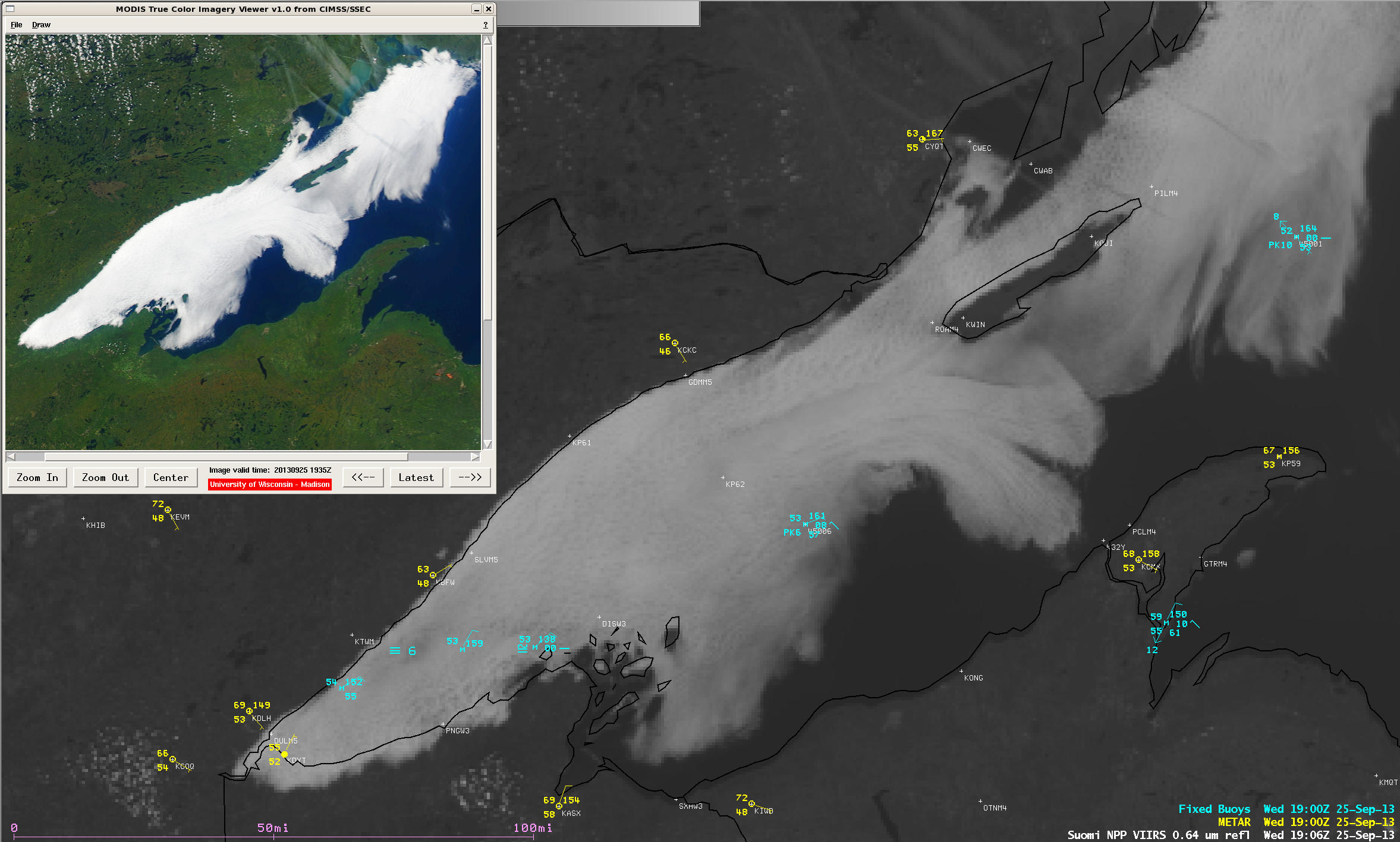 Suomi NPP VIIRS 0.64 µm visible channel image, with MODIS true-color image (upper left corner)