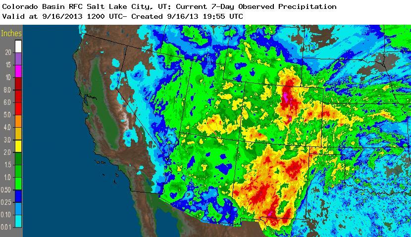 Weekly Precipitation ending 16 September 2013