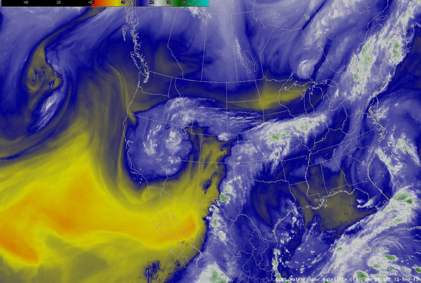 GOES-15 and GOES-13 6.5 µm water vapor images (click image to play animation)