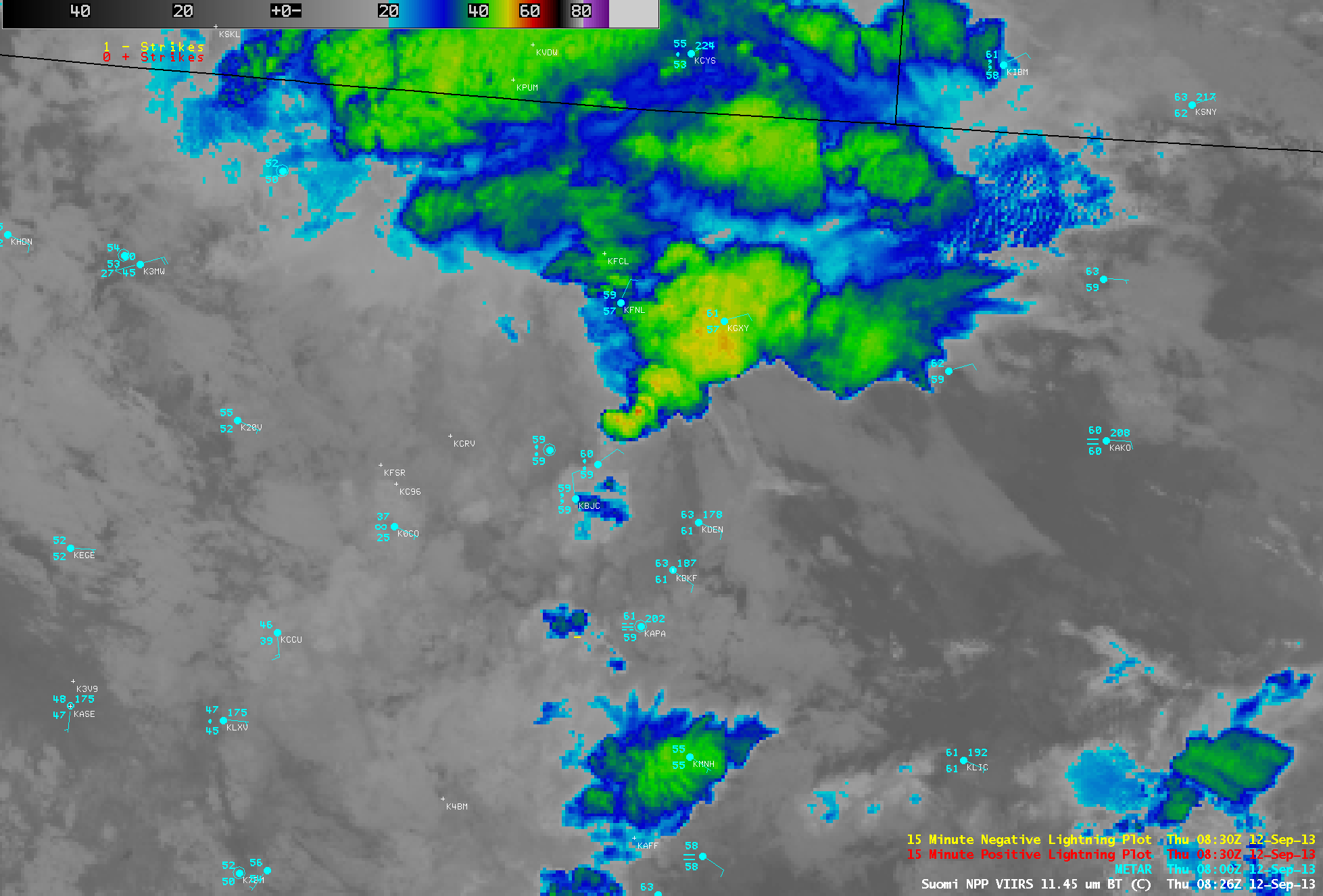 Suomi/NPP VIIRS 11.45 µm IR imagery at 0826 UTC