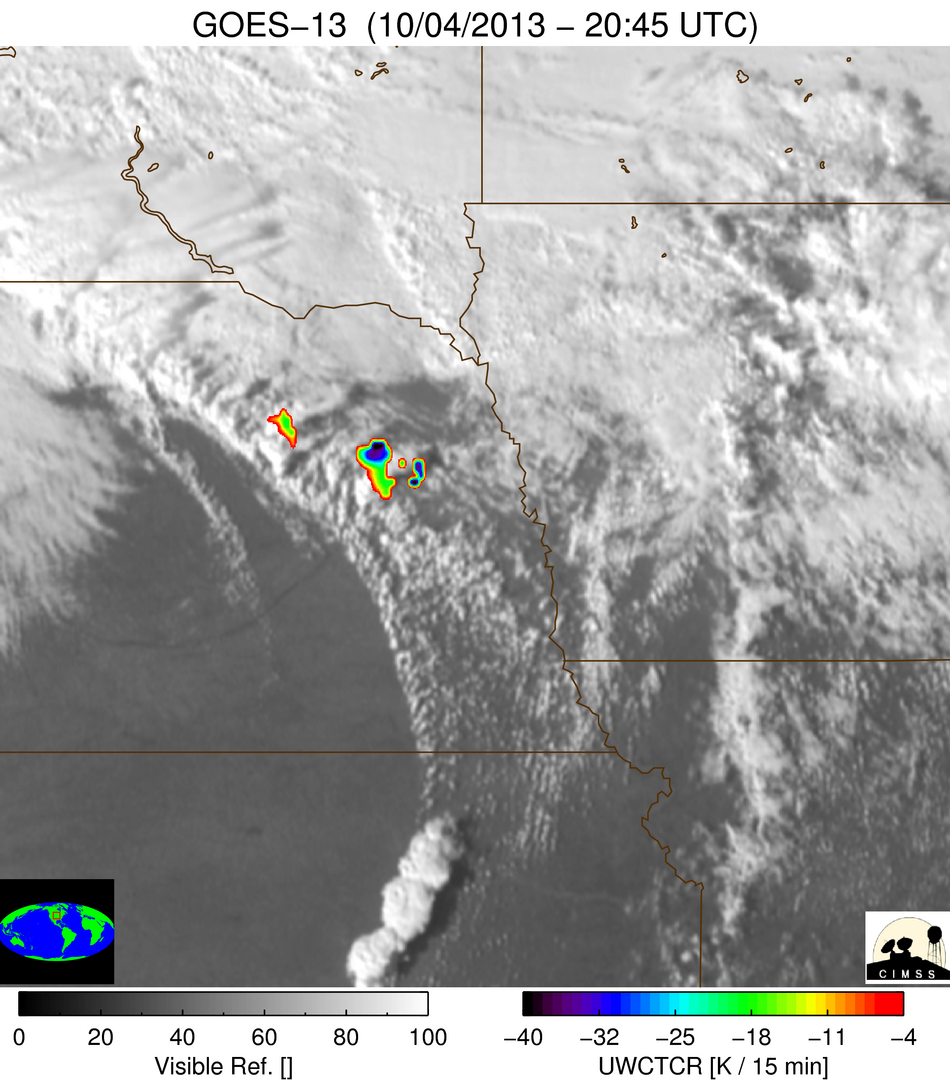 GOES-13 0.63 µm visible images + IR Cloud Top Cooling Rate (click to play animation)