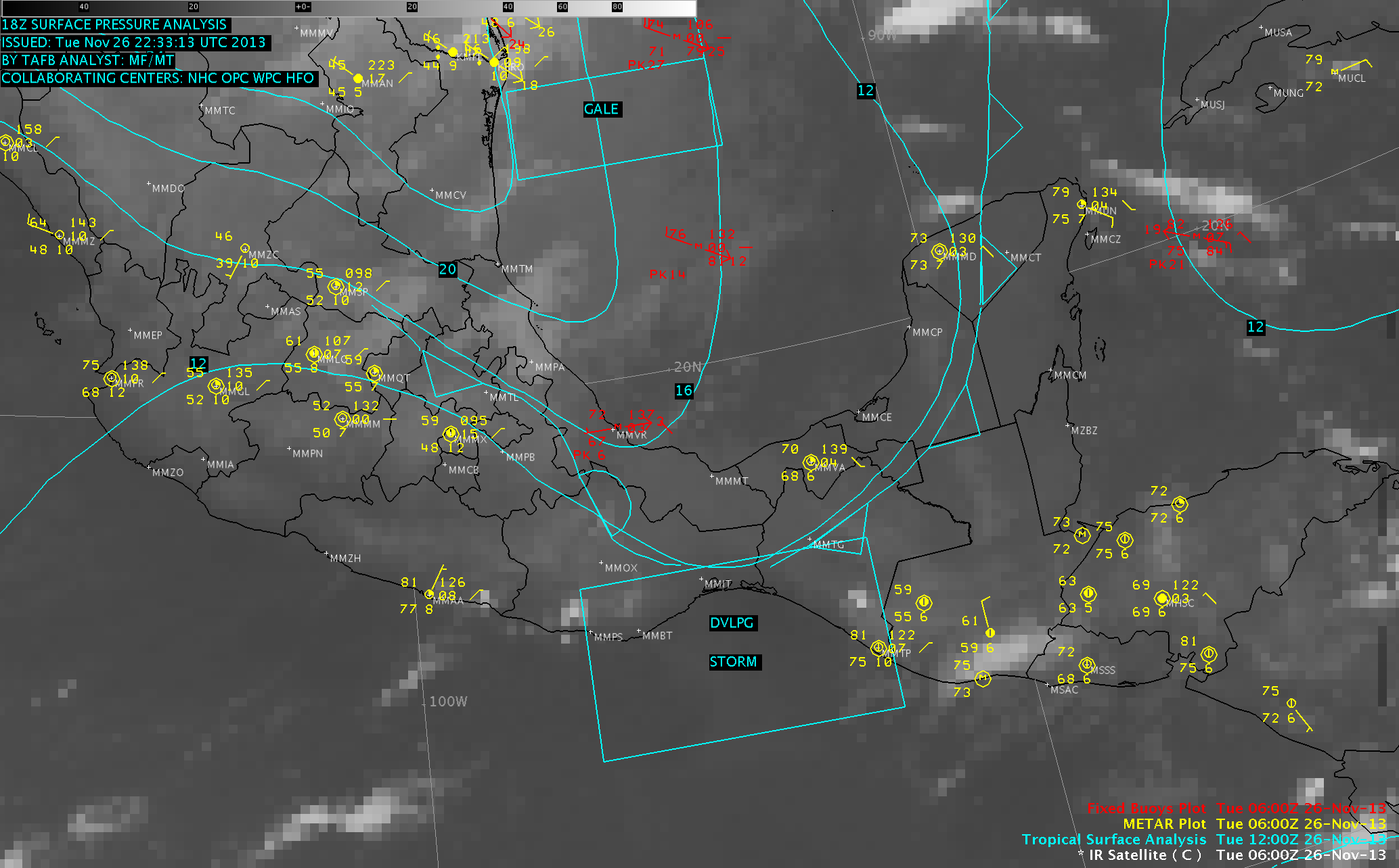 GOES-13 10.7 µm IR images, with surface and buoy reports and tropical surface analysis (click to play animation)