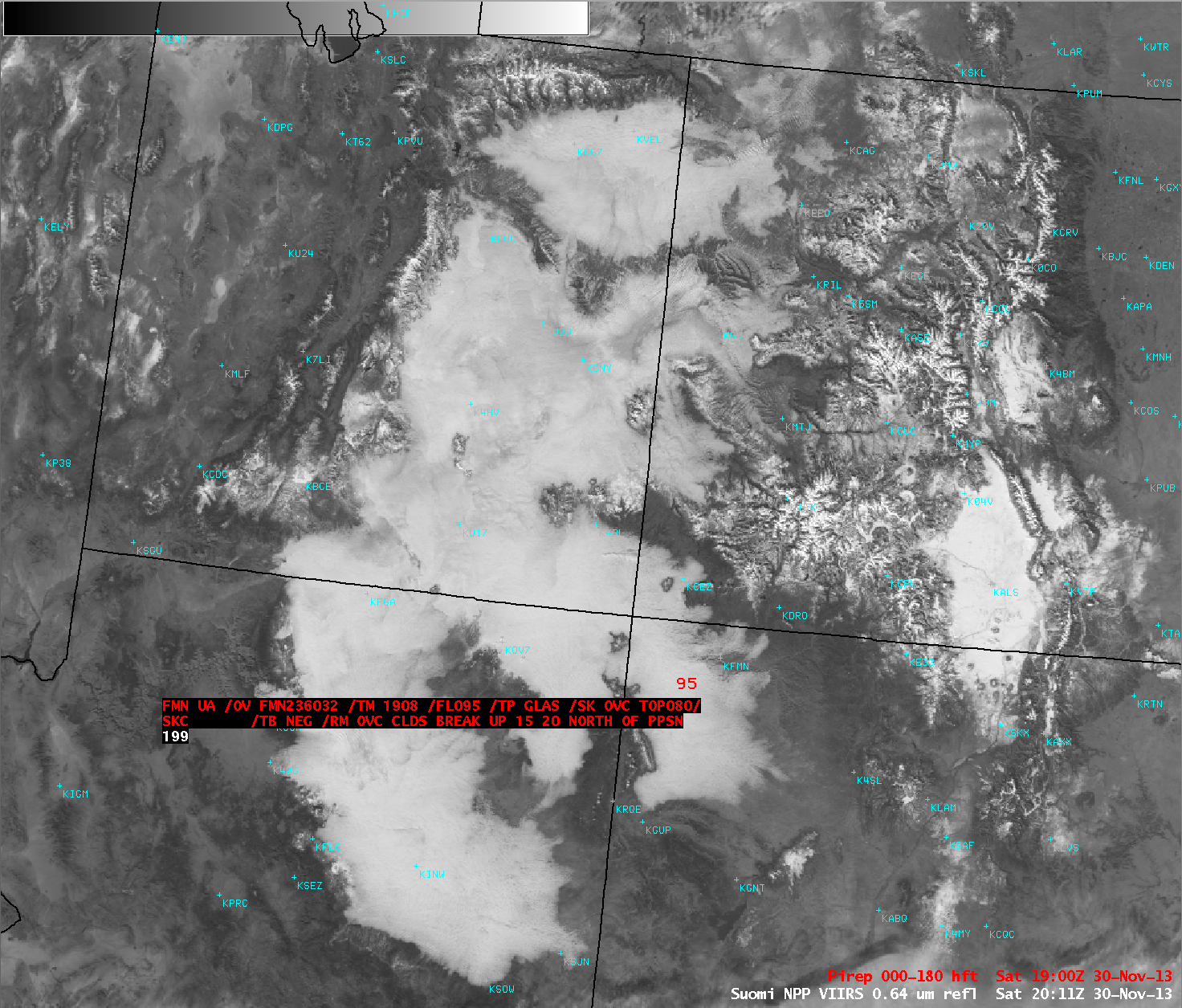 Suomi NPP VIIRS 0.64 µm visible channel image with pilot report of cloud top height