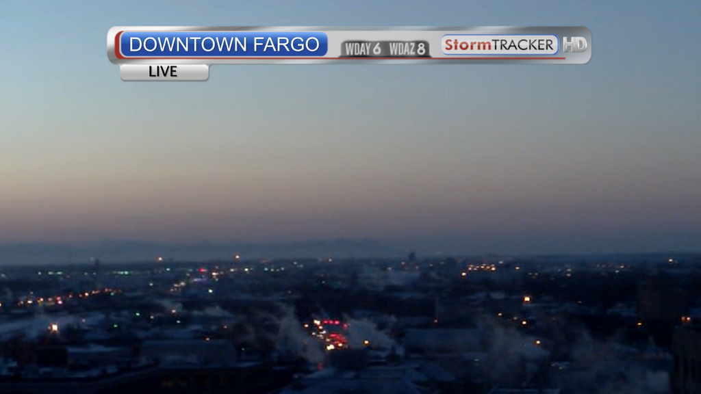 WDAY News tower camera photo, looking west from downtown Fargo