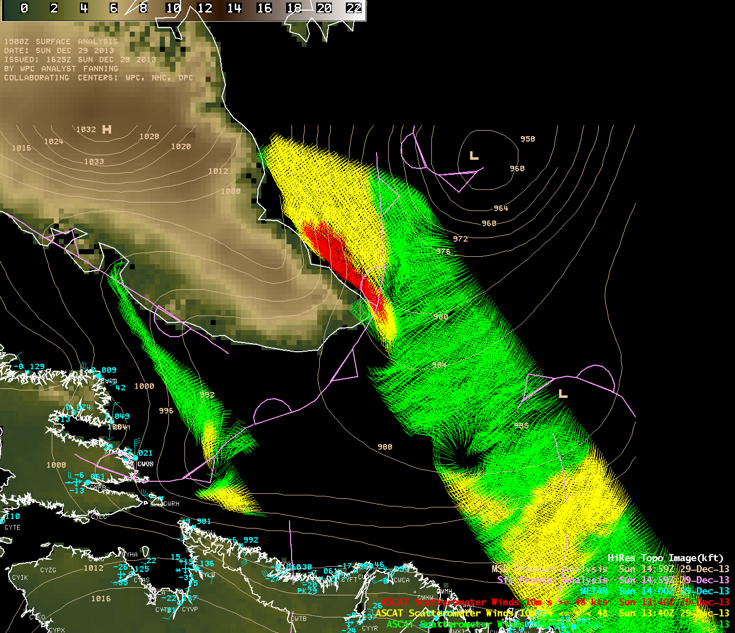 Topography of Greenland, with Metop ASCAT scatterometer winds and surface METAR reports and surface analysis