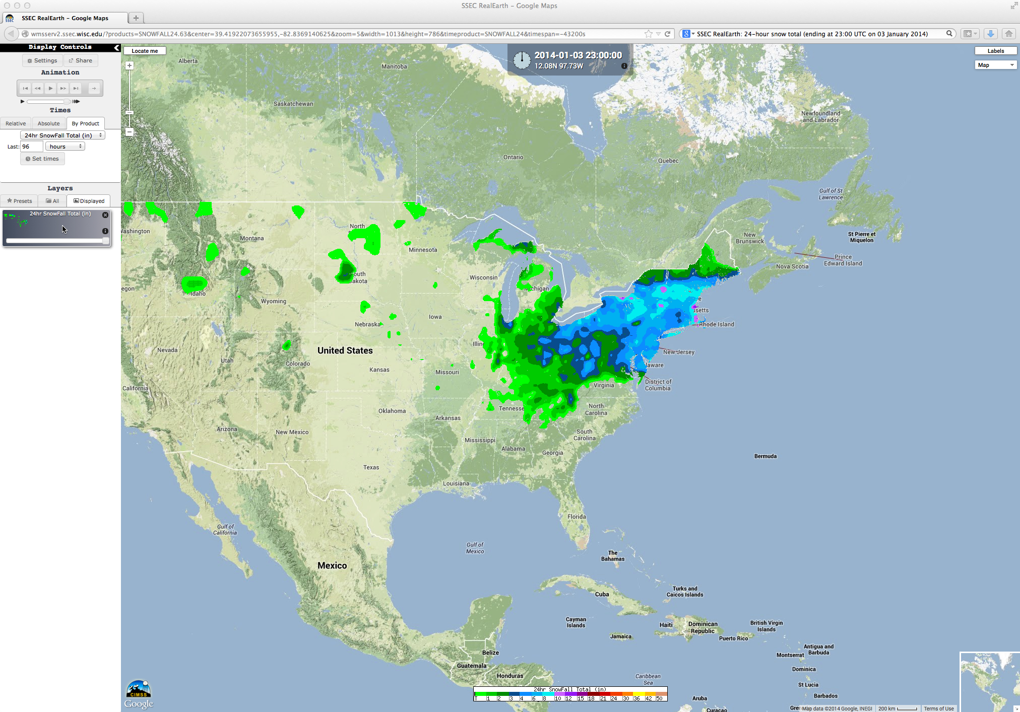 SSEC RealEarth 24-hour snowfall total map