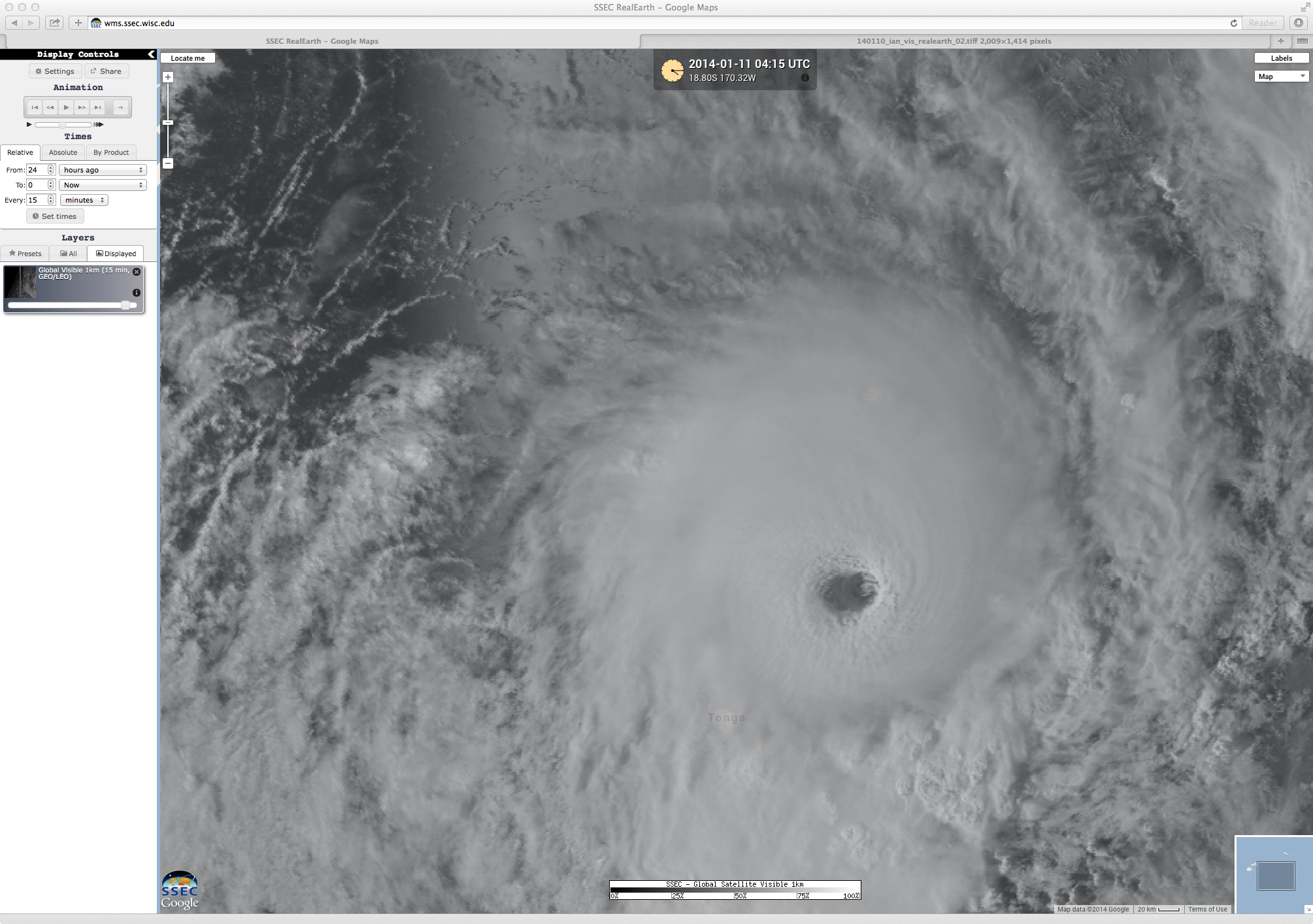 Visible images of Cyclone Ian (click to play animation)