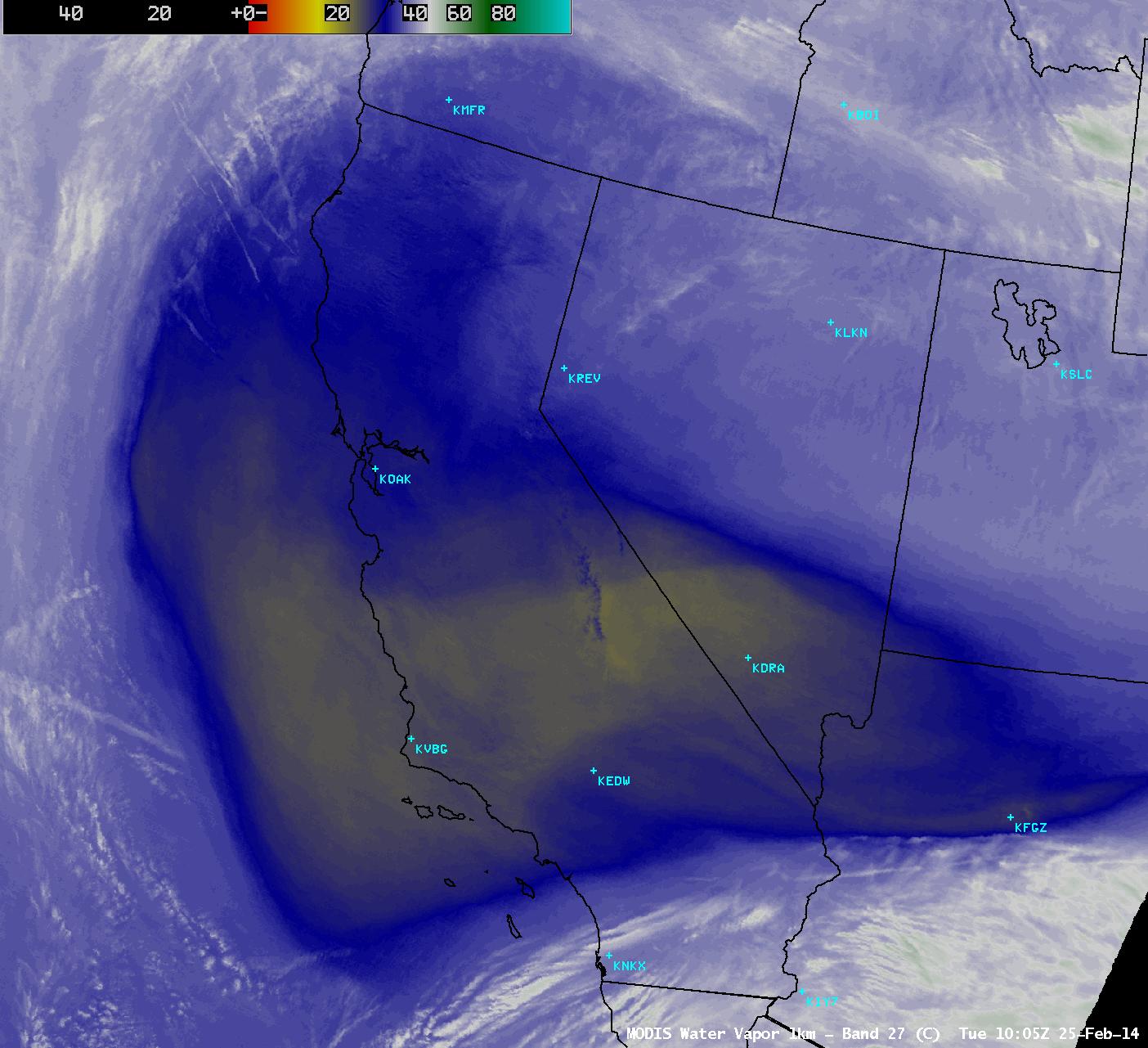 MODIS 6.7 µm water vapor channel image