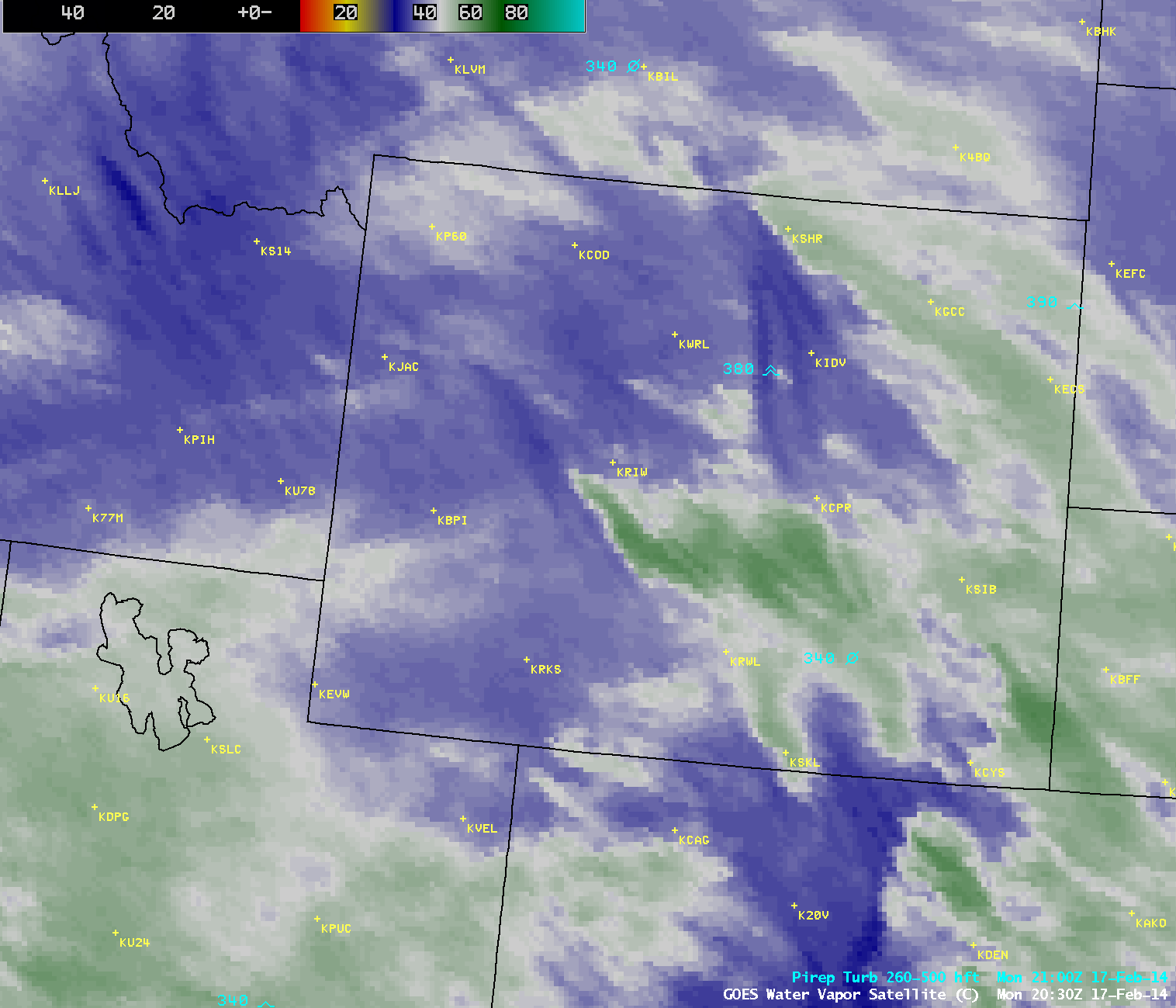 GOES-13 6.5 µm water vapor channel images, with pilot reports of turbulence (click to play animation)