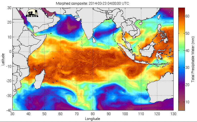 MIMIC Total Precipitable Water product (click to play animation)