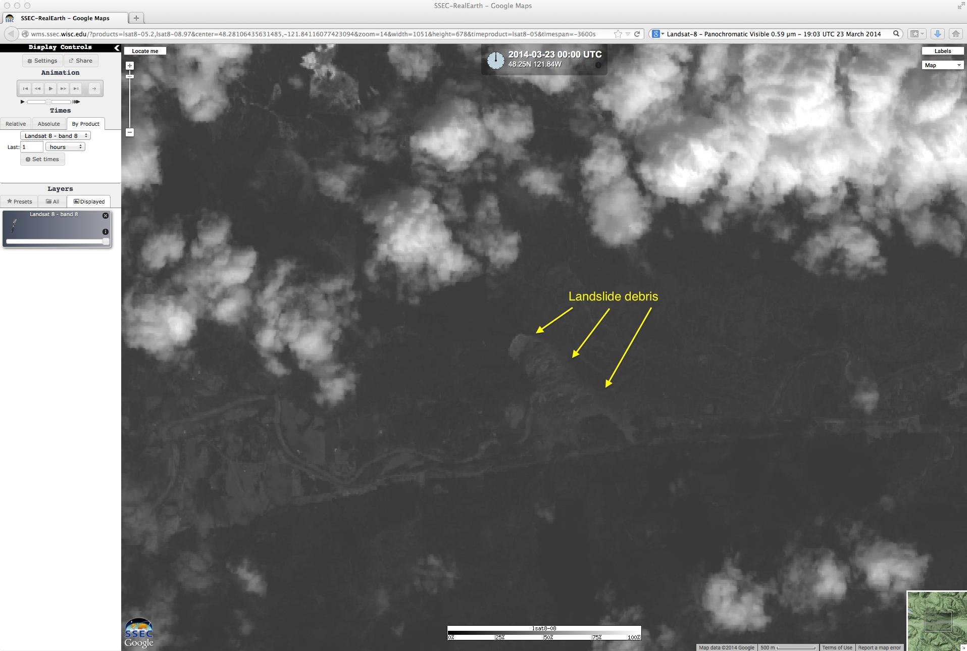 Landsat-8 0.59 µm panochromatic visible image