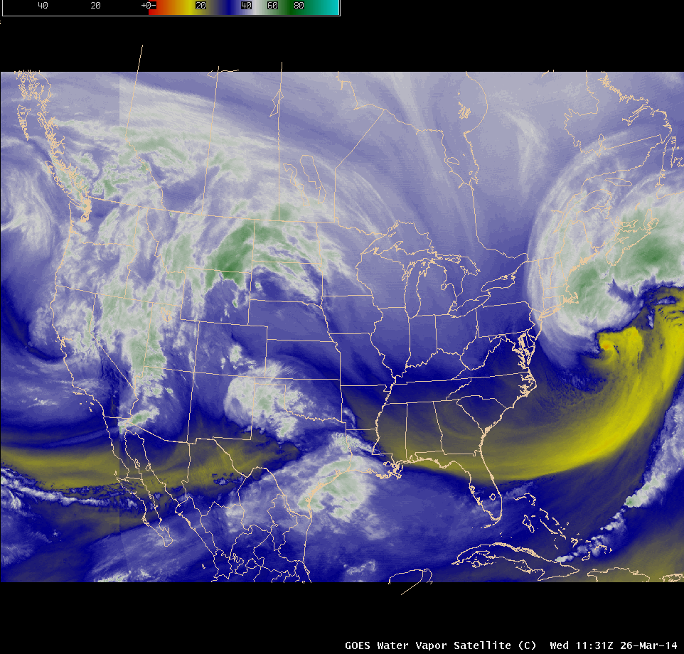 Composite of GOES-15 (GOES-West) and GOES-13 (GOES-East) 6.5 µm water vapor channel images (click to play animation)