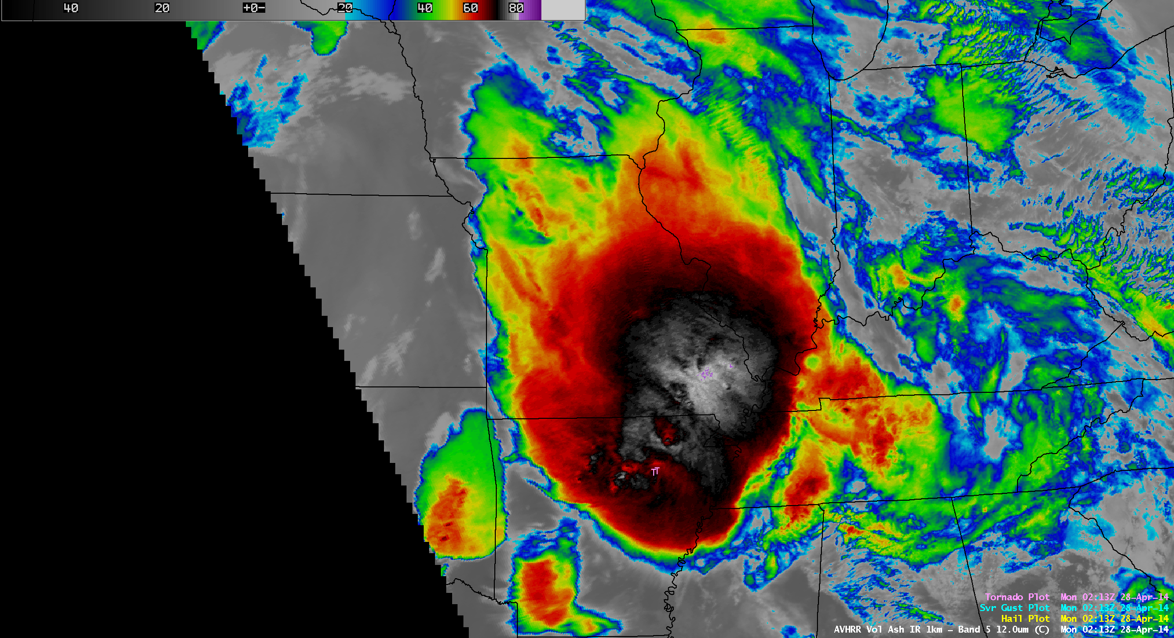 POES AVHRR 12.0 µm IR channel image, with overlay of SPC storm reports