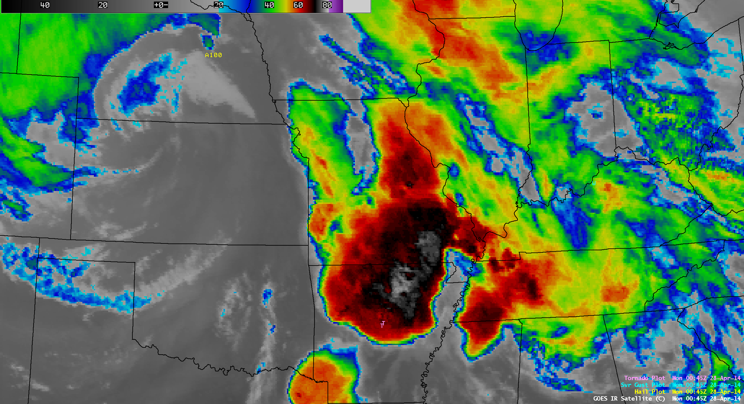 GOES-13 10.7 µm IR channel images, with overlays of SPC storm reports (click to play animation)